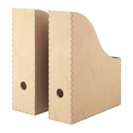 """IKEA Zeitschriftensammler """"KNUFF"""" Holz-Aufbewahrungsbox im 2-er Set - 9x24x31cm und 10x25x31cm -"""