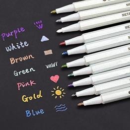 INIBUD Metallic Marker Pens, Satz von 10 Farben für Kartenherstellung DIY Fotoalbum Gebrauch auf irgendeiner Oberfläche-Papier Glas Kunststoff Keramik -