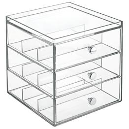 InterDesign Clarity Stapelbarer Organizer mit 3 Schubladen für Lesebrillen, Brillen, Sonnenbrillen - Durchsichtig -