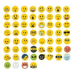 Jumbo-Set 120tlg., Emoji Smiley Magnete, 60 unterschiedliche Emojis + 60 Emoji Aufkleber -