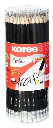 Kores Bleistift Grafitos, HB mit Radierer, 72 Stück, schwarz -