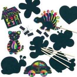 Kratzbild-Magneten in verschiedenen Formen scratch art mit Regenbogenfarben für Kinder zum Basteln - 10 Stück -