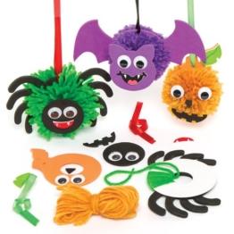 """Kreatives Bastelset für Pompon-Anhänger """"Halloween"""" für Kinder zum Gestalten, Dekorieren und Aufhängen (3 Stück) -"""