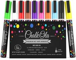 Kreidemarker - 10er Pack neonfarbene Markerstifte. Für Whiteboard, Kreidetafel, Fenster, Tafel, Bistros - 3mm Kugelspitze -