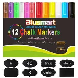 Kreidemarker, Blusmart 12 Stück farbig sortiert mit 40 Tafelaufkleber, Reversible Stiftspitze 6mm+3mm, für Kartenherstellung DIY Fotoalbum Gebrauch auf irgendeiner Oberfläche-Papier Gläser Kunststoff Keramik -