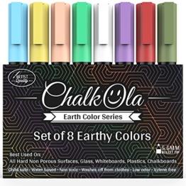 Kreidestifte - Packung mit 8 erdfarbenen Markern - Benutzung auf Whiteboard, Kreidetafel, Fenster, Tafel, Bistrogläsern - 6 mm Stiftspitze -