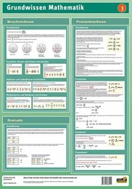 Lernposter Mathematik 3: Bruchrechnen, Prozentrechnen und Dreisatz: Dieses Lernposter vermittelt das Grundwissen in Bruchrechnen, Prozentrechnen und Dreisatz. -