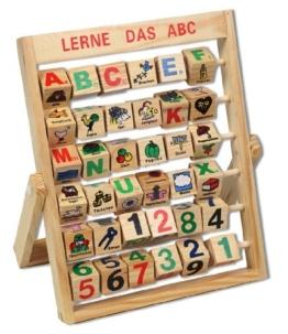 Lernspiel ABC Zahlenlernspiel Holzspielzeug Alphabet Schiebeklötzer Schieber -