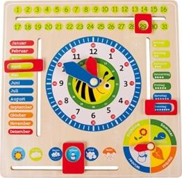 Lernuhr aus Holz, farbenfrohe Lerntafel enthält Datum, Uhrzeit als auch Jahreszeiten, mit drehbaren Zeigern und schiebbaren Kästchen, für Kinder ab 3 Jahren -