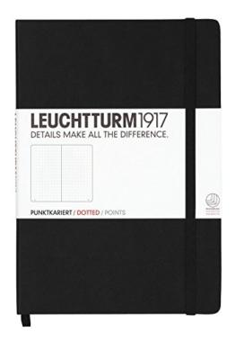 Leuchtturm1917 329398 Notizbuch (A5, Dotted, 80g/qm) 249 Seiten schwarz -