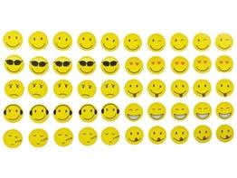 Magnete Smiley, Emoji, 50 Stück im Set, 10 verschiedene Designs, Kühlschrankmagnete, witzige gute Laune Magnete, Durchmesser 2 cm -