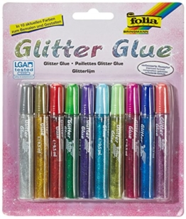 Max Bringmann 574 - Glitter Glue, 10 x 9,5 ml, in 10 Farben -