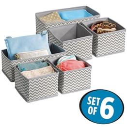 mDesign Stoffbox für Schrank oder Schublade, 6er Set - die ideale Aufbewahrungsbox (Stoff) - flexibel verwendbare Stoffkiste -