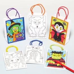Mini-Geschenktüten mit Halloween-Motiven für Kinder zum Ausmalen, Verzieren und Füllen mit Süßigkeiten (6 Stück) -