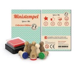 Ministempel - 8 Stück - nicht nur für Lehrer als Belohnungsstempel; Holz Stempel Set zum Verschönern von Einladungskarten, Briefen, Tischkarten, Geschenken und vielem mehr -