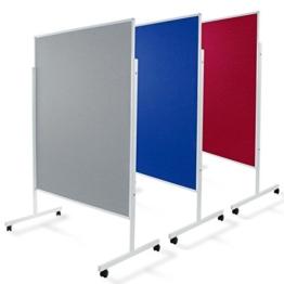Moderationstafel Filz | doppelseitig | mit Rollen | Höhe: 185 cm | Farbe wählbar (grau) -