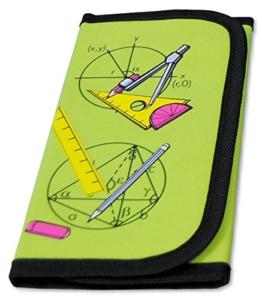 MW Handel GR Zirkel- und Mathematik-Set im praktischen Etui mit Klettverschluss, 12-teilig, grün -