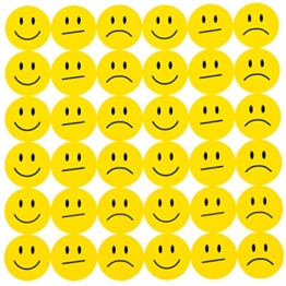 Oblique-Unique® 180 Gelbe Smiley Face Sticker ø 2cm - Lächeln - Neutral - Traurig -