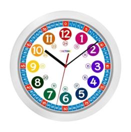 ONETIME Kinderwanduhr (Ø) 30,5 cm Kinder Wanduhr mit lautlosem Uhrenwerk und farbenfrohem Design - Ablesen der Uhrzeit lernen -