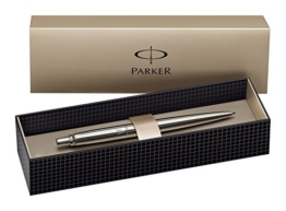 Parker S0705560 Jotter-Kugelschreiber (Edelstahl mit Chromverzierung, Geschenkbox) schreibfarbe blau -