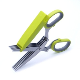 Pazzi-5Klinge Schredder Schere Kräuter Cilantro Petersilie Küche Scheren Edelstahl Klingen Cutter mit Abdeckung -