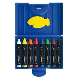 Pelikan 722959 - Wachsmaler rund 666 / 8 wasservermalbar, wasserlöslich, im blauen Kunststoffetui -