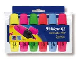 Pelikan 943316 - Textmarker 490 / 6, 6er Pack, sortiert in den Farben: gelb/rosa/grün/orange/blau/rot -