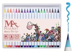 Pinselstift-Set - 20 Farben - weiche flexible Echtpinsel-Spitze, langlebig, Wasserfarben-Effekt, Aquarell - Ideal für Malbücher, Manga, Comic, Kalligrafie, duale Stärke, MozArt Supplies -