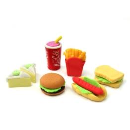 Radiergummis, Fast Food, 6 Stück -