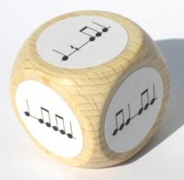 Rhythmuswürfel - Würfel mit Achteln, Vierteln sowie deren Pausen -
