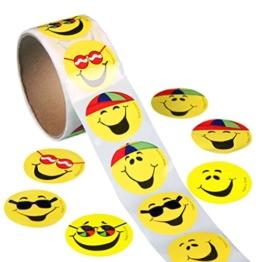 ROSENICE 100 Stück Gelbe Smiley Face Stickers Kinder Belohnung Aufkleber Runde Aufkleber -