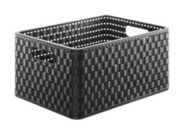 Rotho 1115308080 Aufbewahrungskiste Dekobox Country in Rattan-Optik aus Kunststoff (PP), Format A4, Inhalt ca. 18 l, ca. 36.8 x 27.8 x 19.1 cm (LxBxH), schwarz -