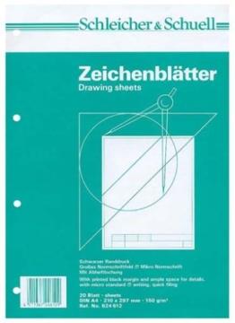 Schleicher & Schuell 624612 - Zeichenpapier A4 20 Blatt mit Rahmen -