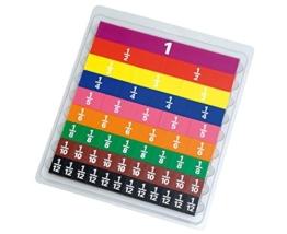 Schüler Bruchrechen Set, aus 51 farbigen Kunststoffteilen - Mathematikunterricht Mathematik Rechnen lernen Schüler Kinder Schule Lehrmittel Übungen üben Training Rechenspiele -