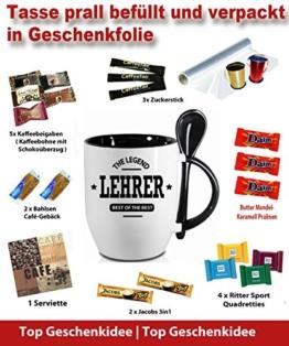 """Schwarzer Becher in Geschenkverpackung """" LEHRER. """" Kommt garantiert Bruchfrei an. Nur Orignal von Druck-deine-Tasse -"""