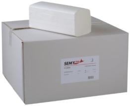 Semy Top Papierhandtuch, ZZ-Falz, 24 x 21 cm, 2lag, hochweiß, 3200 Blatt, 1er Pack (1 x 1 Stück) -