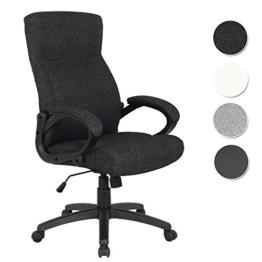 SixBros. Bürostuhl Chefsessel Drehstuhl Schreibtischstuhl Stoff Schwarz - HLC-0311-1/2166 -
