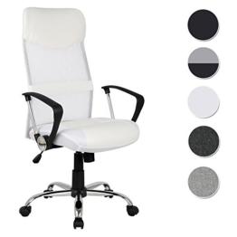 SixBros. Chefsessel Bürostuhl Drehstuhl Schreibtischstuhl Weiß H-935-6/1320 -