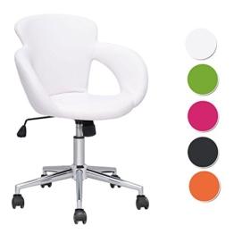 SixBros. Design Rollhocker Arbeitshocker Hocker Bürostuhl Weiß M-65335-1/725 -