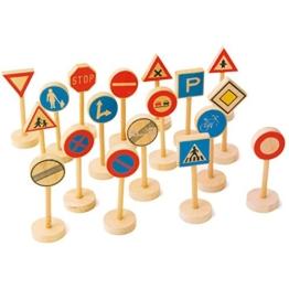 Small Foot by Legler Verkehrsschilder aus Holz, 18 Teile, verschiedene Straßenverkehrsregeln spielerisch erlernen -