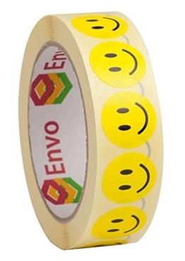 Smiley Aufkleber Rund 25mm Gelbe Runde Etiketten Smiley Sticker 25mmn - 1,000 Stück -