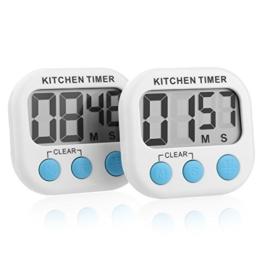 Sminiker 2 Pakete von Digitalem Küchentimer Kochentimer Uhren,countdown timer,Großer LCD-Bildschrim , Magnetische Rückseite, Anhänger & Faltständer. Batterien Inklusiv -