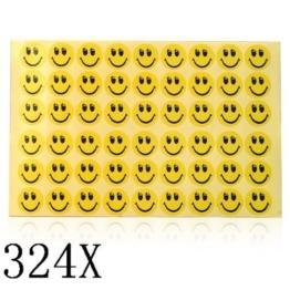 SODIAL(R) 324Stks. Smiley Aufkleber mit gelben und schwarzen Gesichten der Kinder -