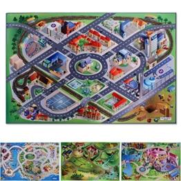 Spielmatte In der City | Straßen und Häuser | Phthalat-frei | erweiterbar zu einer riesigen Spiellandschaft | 100 x 150 cm -