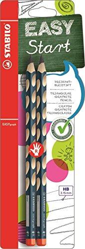 Stabilo B-39890-10 EASYgraph Ergonomischer Dreikant-Bleistift (HB, für Rechtshänder) 2er Blister -