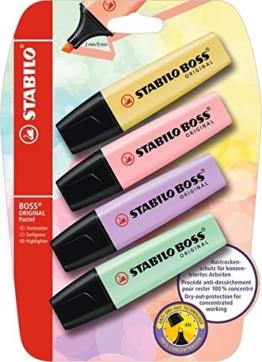 Stabilo Boss Original Pastel (pudriges Gelb, rosiges Rouge, Schimmer von Lila, Hauch von Minzgrün) 4er Pack -