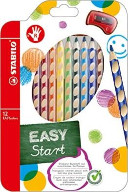 STABILO EASYcolors 12er Etui mit Spitzer rechts - ergonomische Buntstifte -