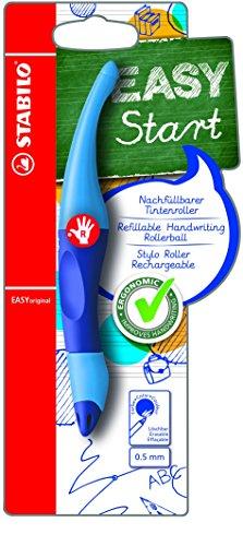 STABILO EASYoriginal inkl. 1 Nachfüllpatrone - ergonomischer Tintenroller für Rechtshänder - Schreibfarbe blau (löschbar) - Einzelstift dunkel-/hellblau -