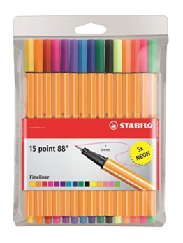 STABILO point 88 15er Etui, 10 + 5 Neonfarben - Fineliner -