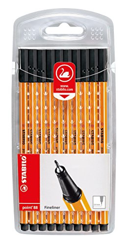 STABILO point 88 - Fineliner, 10er Set, Schwarz -